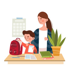 Mother and her young son packing a backpack vector