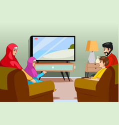 Muslim family watching tv at home vector