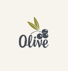 olive icon or logo for olives or fresh oil vector image