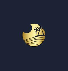 palm tree coconut tree beach logo vector image