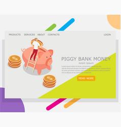 piggy bank money website landing page vector image
