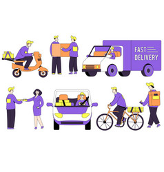 pizza delivery courier man with box on business vector image
