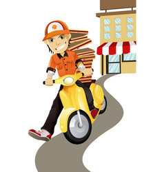 Pizza delivery man vector