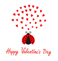 Red flying lady bug insect with hearts vector