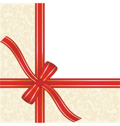 Red gift ribbon wrapped around decorative backgrou vector