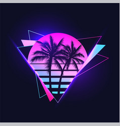 Retrowave or synthwave or vaporwave aesthetic vector