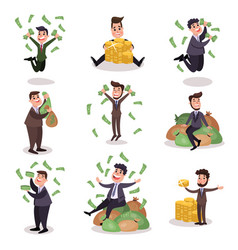 Rich wealthy happy millionaire characters set of vector