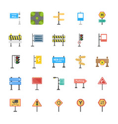 Road signs and junctions flat icons set vector