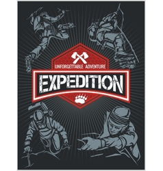Rock climbing expedition set - expeditions emblem vector image