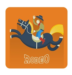 Rodeo iconcowboy on horse vector