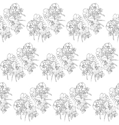 Seamless pattern black and whiteanemones flowers vector image