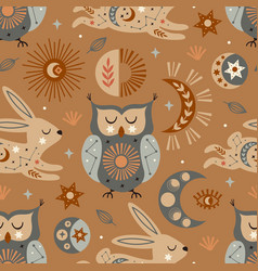 Seamless pattern with celestial owl and hare vector