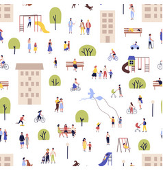 seamless pattern with men and women walking vector image