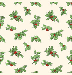 seamless patttern of the holly branches vector image