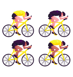 Set of bicyclists in helmets on a white background vector