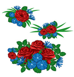 Set of floral arrangements vector