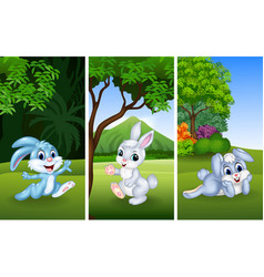 set of funny rabbits with nature background vector image