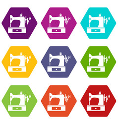 sewing machine icon set color hexahedron vector image