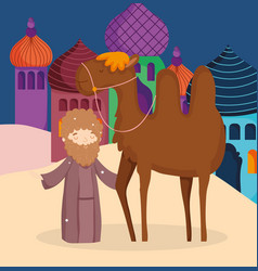 Shepherd with camel desert manger nativity merry vector