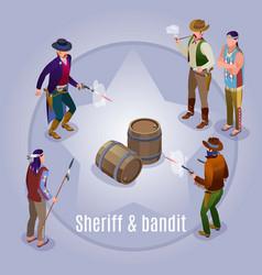 Sheriff bandit wild west vector