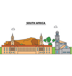 South africa outline city skyline linear vector
