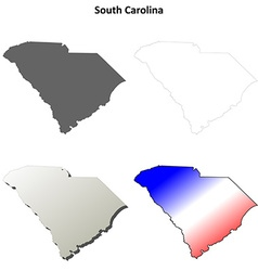 South Carolina outline map set vector image