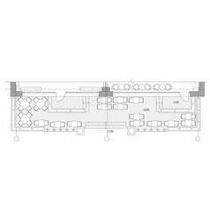 standard cafe furniture symbols on floor plans vector image