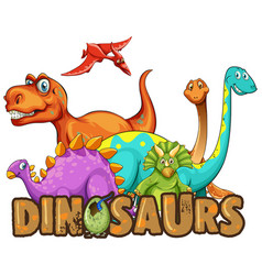 sticker template with many types of dinosaurs vector image
