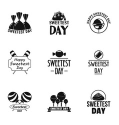 Sweetest day logo set simple style vector