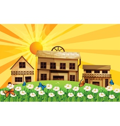 The sunset and the houses with different designs vector image