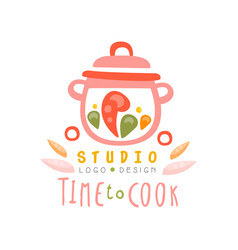 Time to cook studio logo design kitchen emblem vector