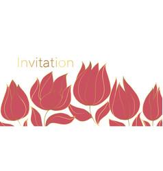 tulips blossom invitation color template vector image