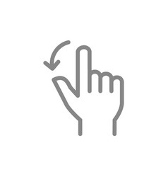 Two fingers flick left line icon touch screen vector