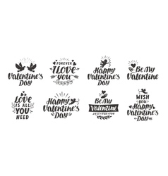 valentine s day set labels icons and decorative vector image