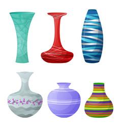 vase decorative ceramic pot and decor glass vector image