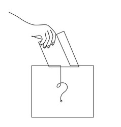 Vote continuous line drawing hand puts the vector