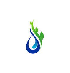 Water drop and plant logo symbol icon design vector