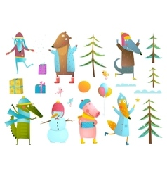 Winter season holiday animals clip art collection vector image