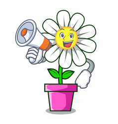 With megaphone daisy flower character cartoon vector