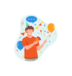young man is happy to celebrate something good vector image