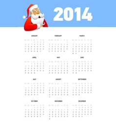 Calendar 2014 with Santa vector image