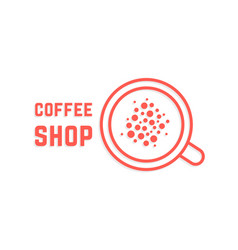 coffee shop with red thin line cup vector image vector image