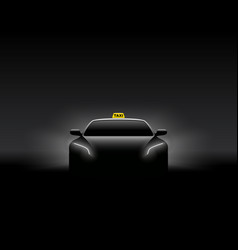 front view dark taxi car silhouette vector image vector image