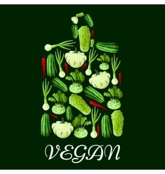 Vegan cutting board icon with healthy vegetables vector image vector image