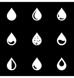 white drop icon set vector image vector image