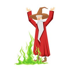 wizard waving with both hands colorful fairy tale vector image vector image