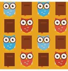Flat Seamless Pattern Wisdom and Knowledge Owls vector image vector image