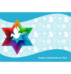 independence day of Israel david star and peace vector image