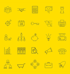 office and business thin line icons vector image vector image
