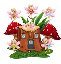 six fairies flying around log home in garden vector image vector image
